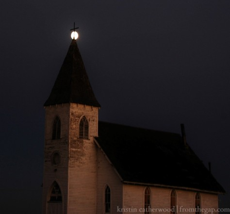 Moonrise over an abandoned church. September 6, 2014.