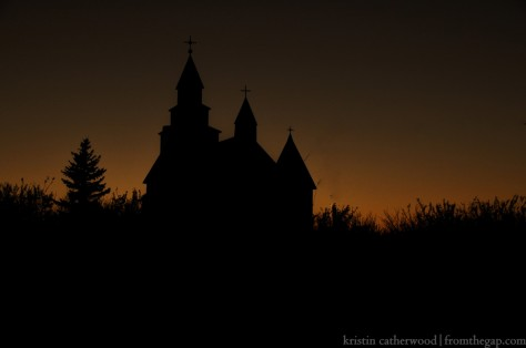 Sts. Peter and Paul silhouetted against the darkening sky. September 6, 2014.